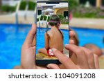 woman with mobile phone photos... | Shutterstock . vector #1104091208