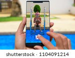woman with mobile phone photos... | Shutterstock . vector #1104091214