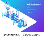 isometric flat web development...