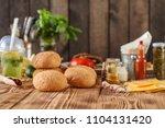 round buns with sesame    bun...   Shutterstock . vector #1104131420
