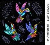 embroidery hummingbird  palm... | Shutterstock .eps vector #1104135203