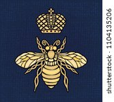 golden embroidery patch bee... | Shutterstock .eps vector #1104135206