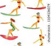 female sportsmen riding on... | Shutterstock . vector #1104136079