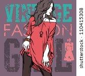 lovely fashion girl on a grunge ...   Shutterstock .eps vector #110415308