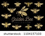 golden embroidery patch bee... | Shutterstock .eps vector #1104157103