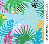 tropical jungle leaves...   Shutterstock .eps vector #1104162116