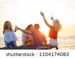 five young people having fun in ... | Shutterstock . vector #1104174083