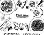 italian pasta frame . hand... | Shutterstock .eps vector #1104180119