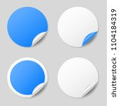 blank blue round stickers with... | Shutterstock .eps vector #1104184319