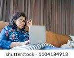 senior woman or indian senior... | Shutterstock . vector #1104184913