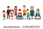disabled characters. happy... | Shutterstock .eps vector #1104185153