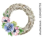 wreath of dried branches with...   Shutterstock . vector #1104185753