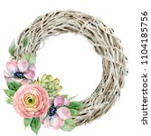 wreath of dried branches with...   Shutterstock . vector #1104185756