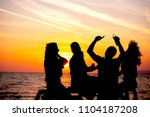 young adult summer beach party... | Shutterstock . vector #1104187208