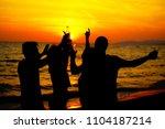 young adult summer beach party... | Shutterstock . vector #1104187214