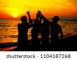 young adult summer beach party... | Shutterstock . vector #1104187268