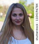 beautiful blonde girl. portrait ...   Shutterstock . vector #1104196784