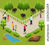 isometric zoo template with... | Shutterstock .eps vector #1104201359