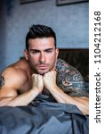 shirtless muscular sexy male... | Shutterstock . vector #1104212168