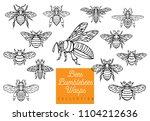 honey bee bumblebees wasps set...   Shutterstock .eps vector #1104212636