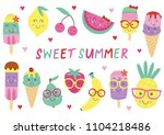 set of isolated cute ice cream... | Shutterstock .eps vector #1104218486