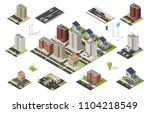 isometric set of city cityscape ... | Shutterstock .eps vector #1104218549