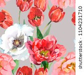 tulips and white peony... | Shutterstock . vector #1104231710