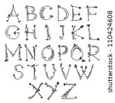sketch of floral alphabet for...   Shutterstock .eps vector #110424608