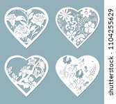 set stencil hearts with flower  ... | Shutterstock .eps vector #1104255629