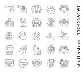 charity linear icons set. thin... | Shutterstock .eps vector #1104256190