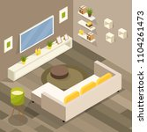 isometric living room 3d... | Shutterstock .eps vector #1104261473