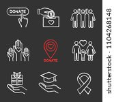 charity chalk icons set. donate ... | Shutterstock .eps vector #1104268148