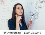 english lesson teacher shows... | Shutterstock . vector #1104281249