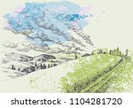 hand drawn landscape. green... | Shutterstock .eps vector #1104281720