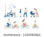 people outdoor in the park on... | Shutterstock .eps vector #1104282863