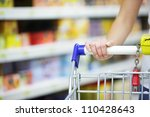 woman with shopping cart  close ... | Shutterstock . vector #110428643