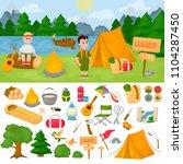 camping children summer camp... | Shutterstock .eps vector #1104287450