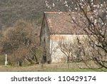 medieval catholic church on a hill, near Budapest, Hungary - stock photo