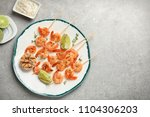 plate with delicious fried... | Shutterstock . vector #1104306203