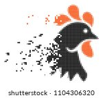 fractured rooster head dotted...   Shutterstock .eps vector #1104306320
