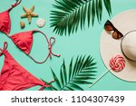 red  pink bikini suit  lollipop ... | Shutterstock . vector #1104307439