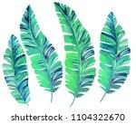 banana leaves. set of 4... | Shutterstock . vector #1104322670