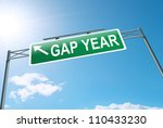 Stock photo illustration depicting a roadsign with a gap year concept blue sky background 110433230
