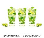 mojito isolated on white... | Shutterstock . vector #1104350540