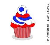 red velvet football cupcake... | Shutterstock .eps vector #1104351989