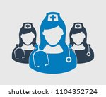 nurse team icon on gray... | Shutterstock .eps vector #1104352724