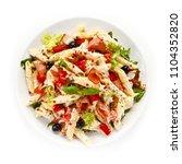 pasta carbonara with vegetables  | Shutterstock . vector #1104352820