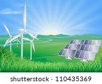illustration of wind turbines... | Shutterstock . vector #110435369