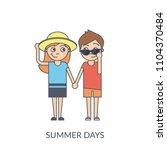 summer couple. cartoon flat... | Shutterstock .eps vector #1104370484