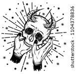 vector illustration. skull with ... | Shutterstock .eps vector #1104378836